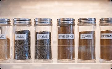 Kitchen spice rack jars
