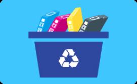 Ink cartridges in recycling bin