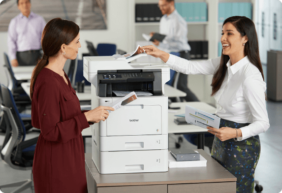 Two models talking with printer